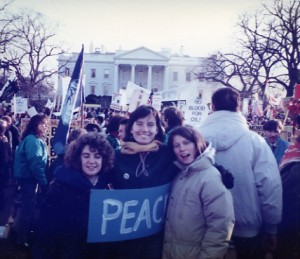 A much younger Eve and two friends protesting the FIRST Gulf War!