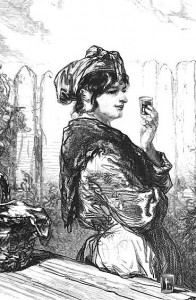Drawing of woman holding glass