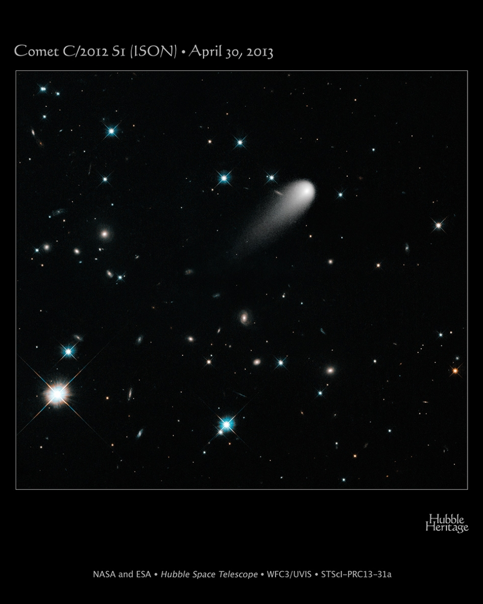 Comet ISON, image from Hubble Space Telescope, credit NASA/ESA/STScl-PRC13-31a